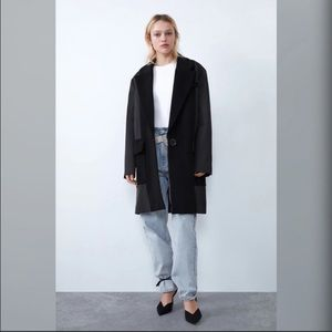 ZARA MENSWEAR STYLE COAT WITH CONTRASTING FABRIC